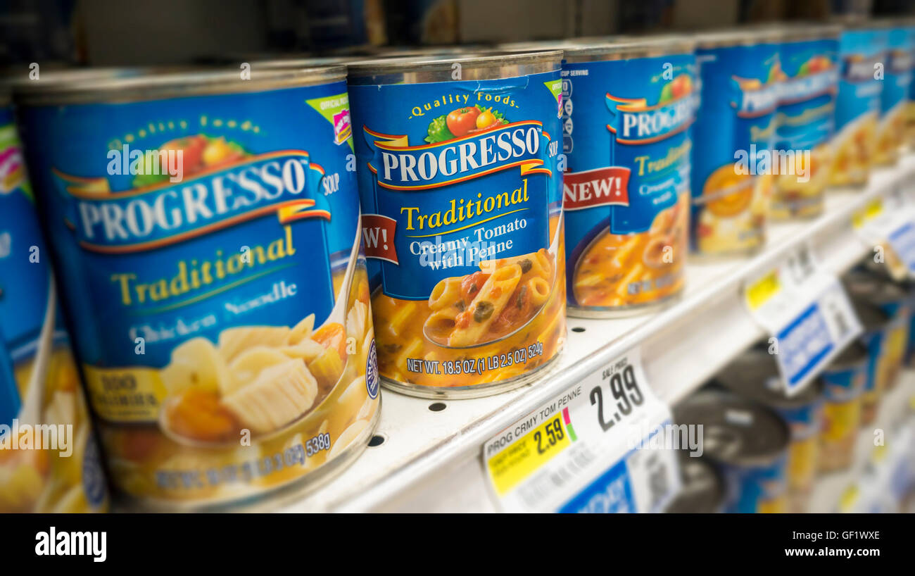Cans of Progresso brand soup on a supermarket shelf in New York on Friday, July 22, 2016. General Mills, the owner - Stock Image