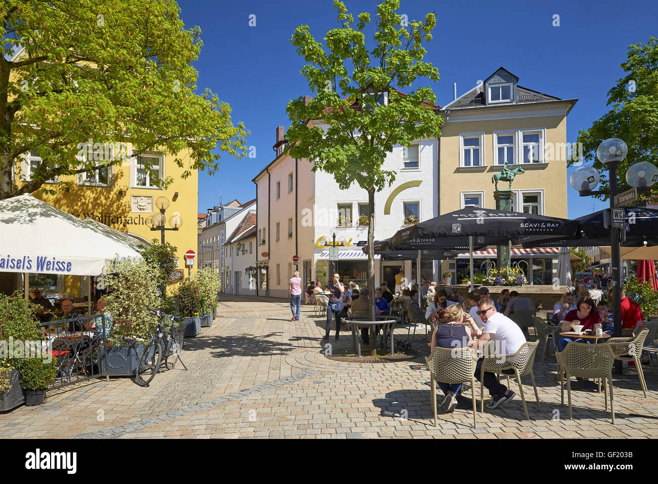 Beer garden in Bayreuth, Germany - Stock Image