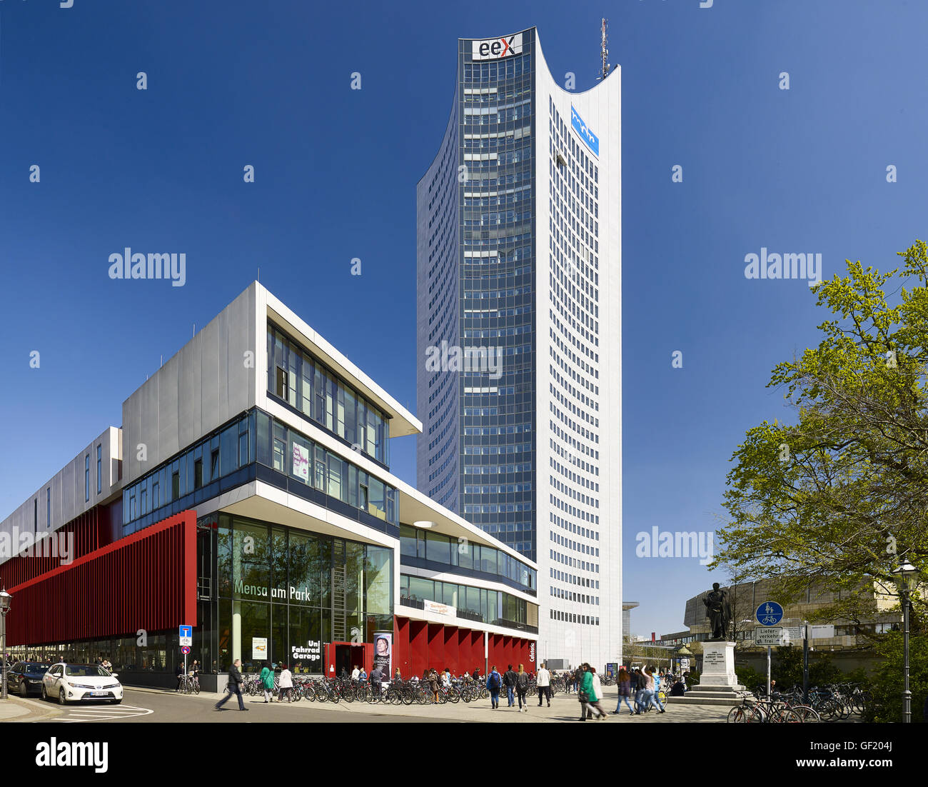 Mensa am Park with City Hochhaus in Leipzig, Germany - Stock Image