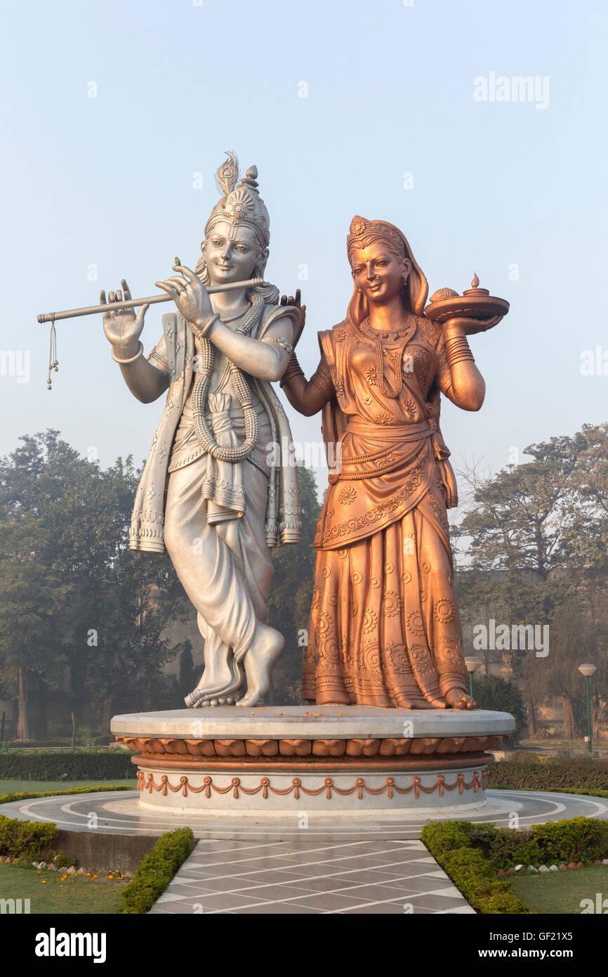 Statues of the gods Radha Krishna, Delhi, India - Stock Image