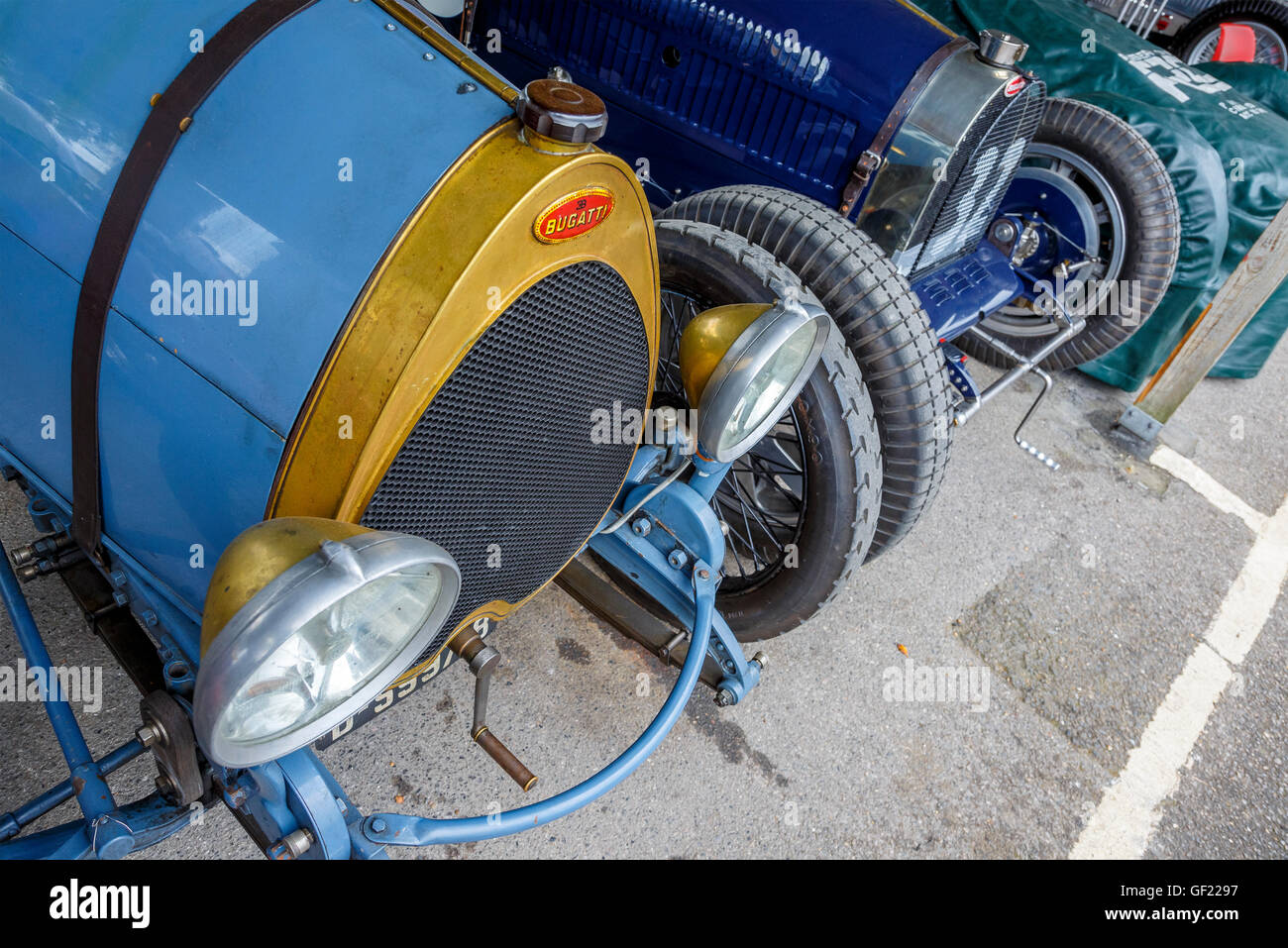 Pre-war Bugatti in the paddock at the 2015 Goodwood Revival, Sussex, UK. - Stock Image