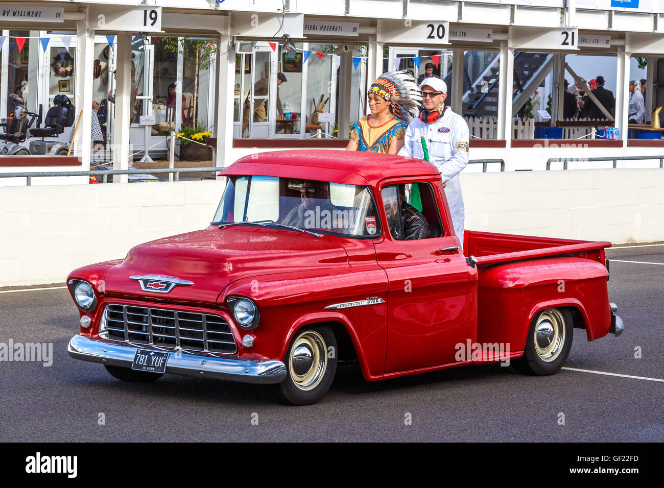 All Chevy 1955 chevrolet 3100 : 1955 Chevrolet 3100 pick-up support vehicle with the indian and ...