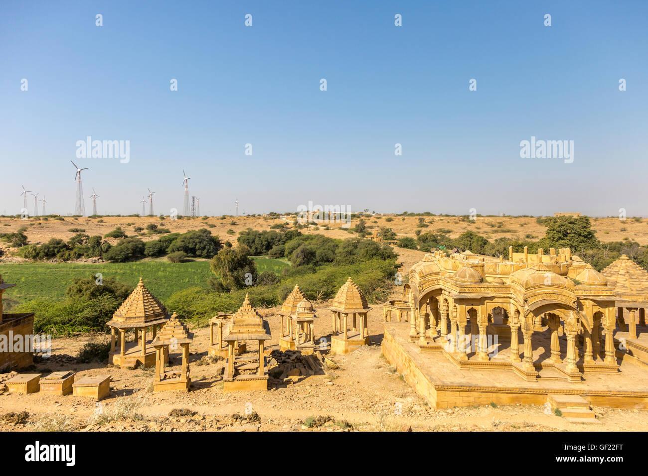 Bada Bagh Cenotaphs, Jaisalmer, Rajasthan, India - Stock Image
