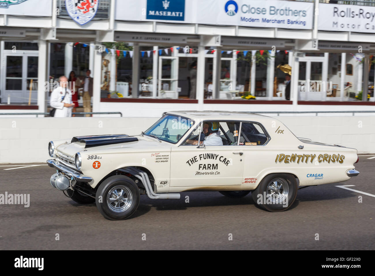 1964 Dodge Dart 'Identity Crisis' 383cu inch Gasser on track at the 2015 Goodwood Revival, Sussex, UK. - Stock Image