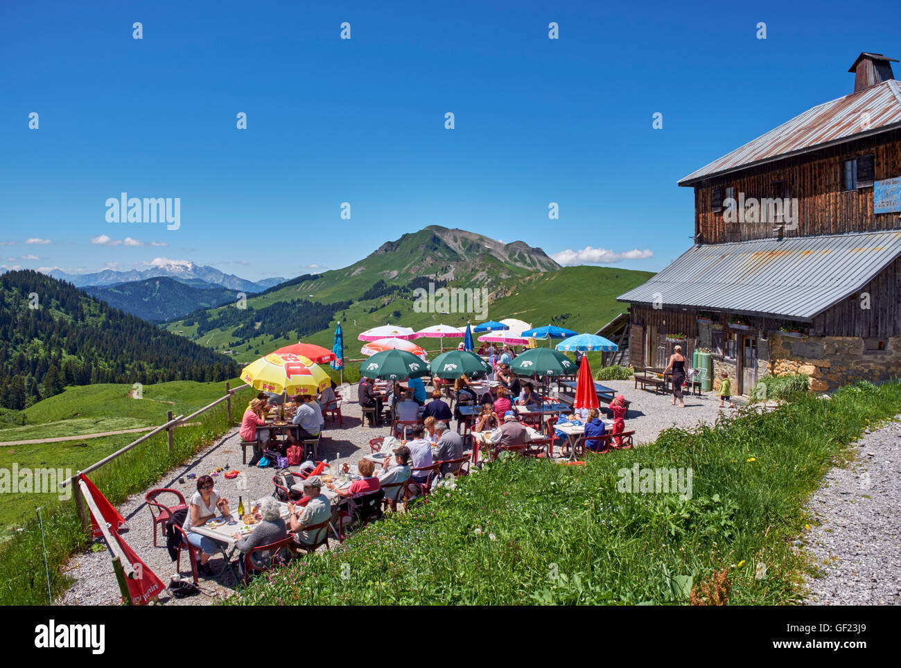 Restaurant terrace at Col des Annes. Le Grand Bornand, Haute-Savoie, France. - Stock Image