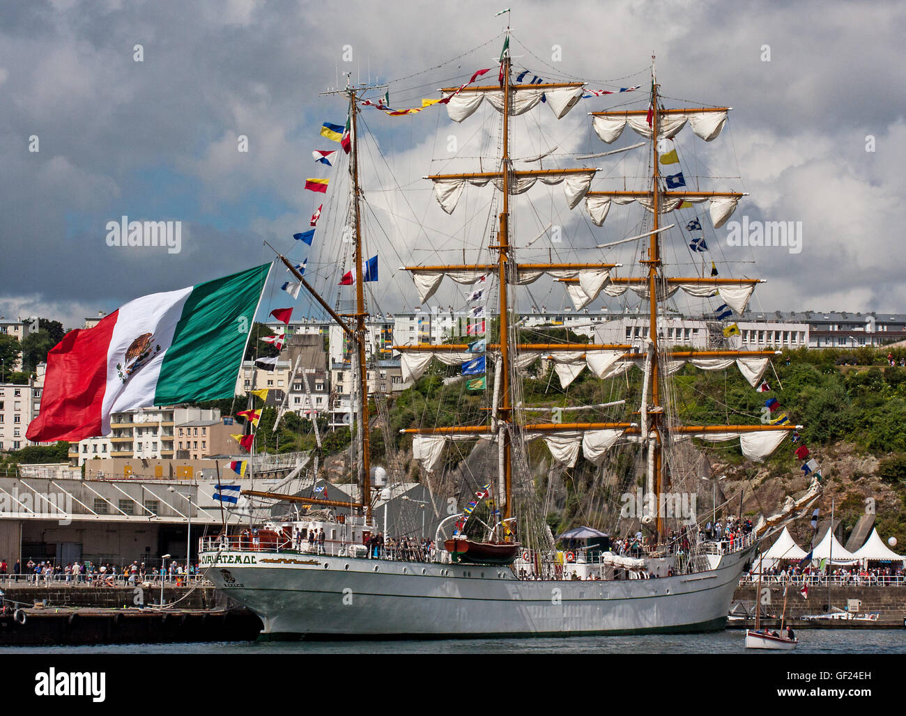 The Mexican ship Cuauhtemoc flying the Mexican flag in Brest harbor during the Tall Ships celebration 2016 - Stock Image
