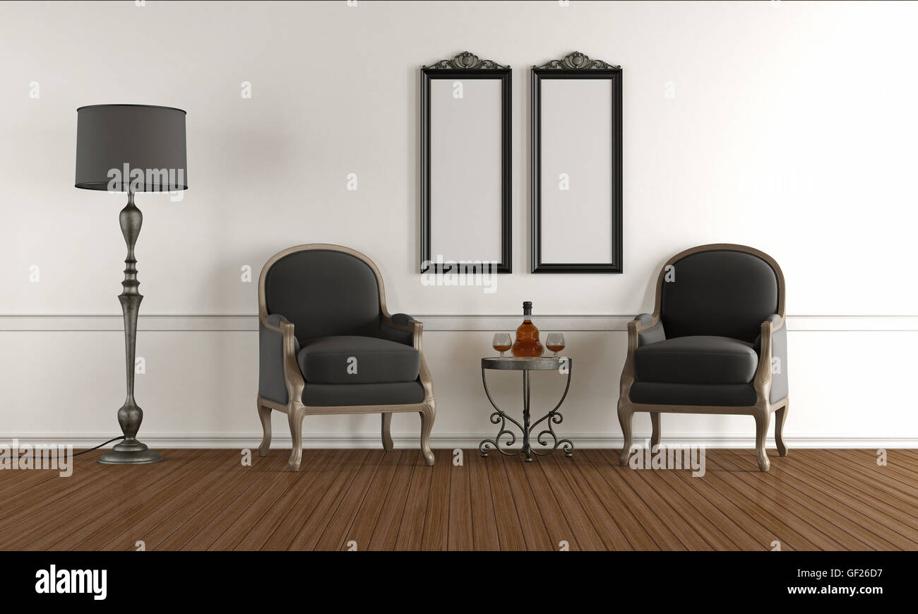 Black and white classic living room with two armchairs - 3d rendering - Stock Image