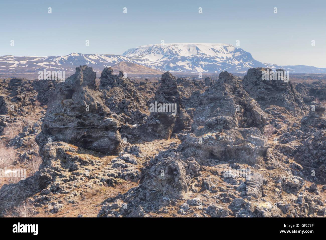 Dimmuborgir Lava Fields Lake Myvatn Iceland LA009113 - Stock Image