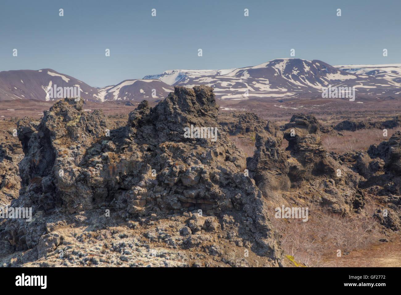 Dimmuborgir Lava Fields Lake Myvatn Iceland LA009121 - Stock Image