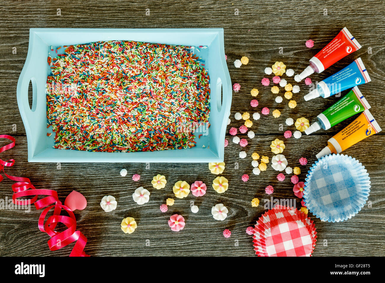 Set for decorating cakes - Stock Image