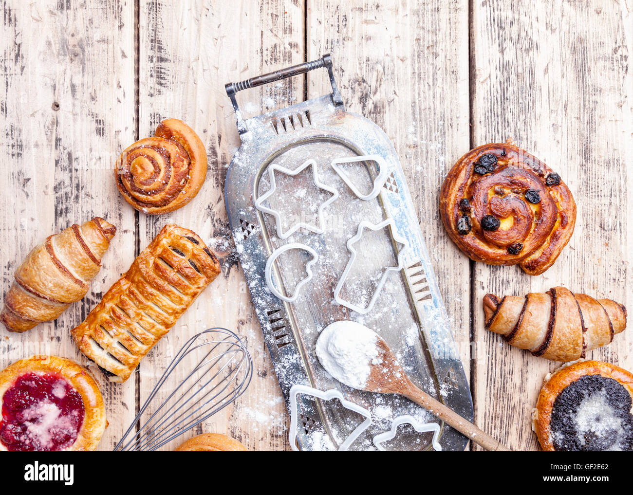 Delicious Christmas holiday baking background with ingredients and utensils Stock Photo