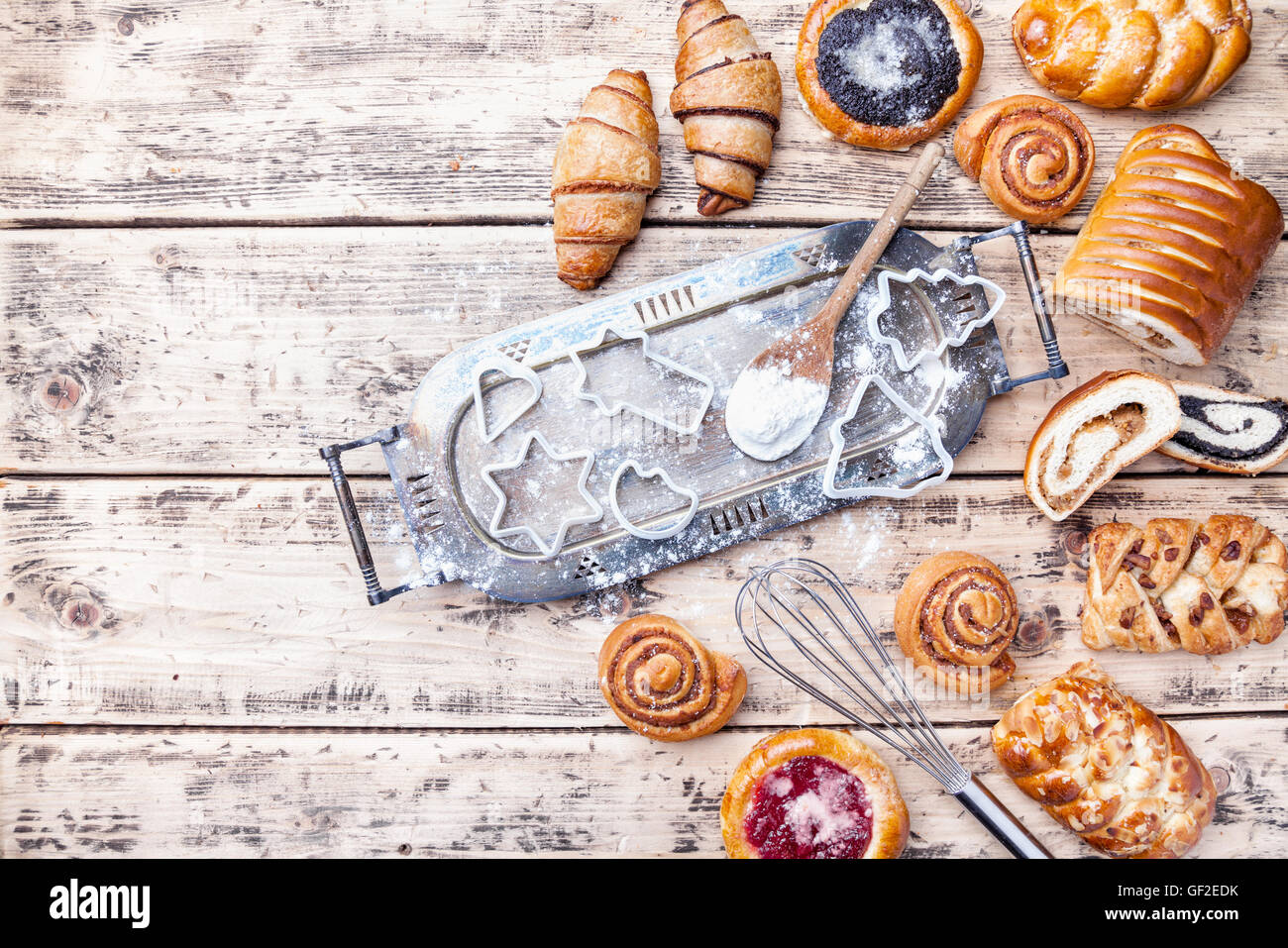 Delicious Christmas holiday baking background with ingredients and utensils - Stock Image