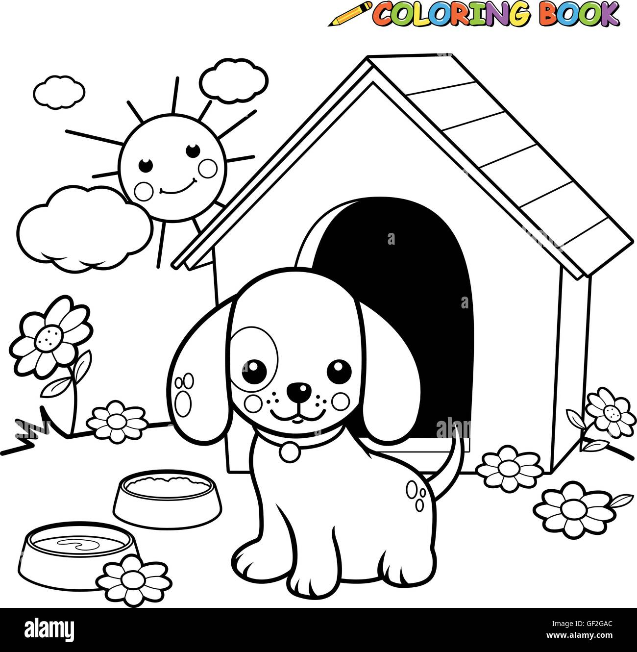Black and white outline image of a dog standing outside his doghouse ...