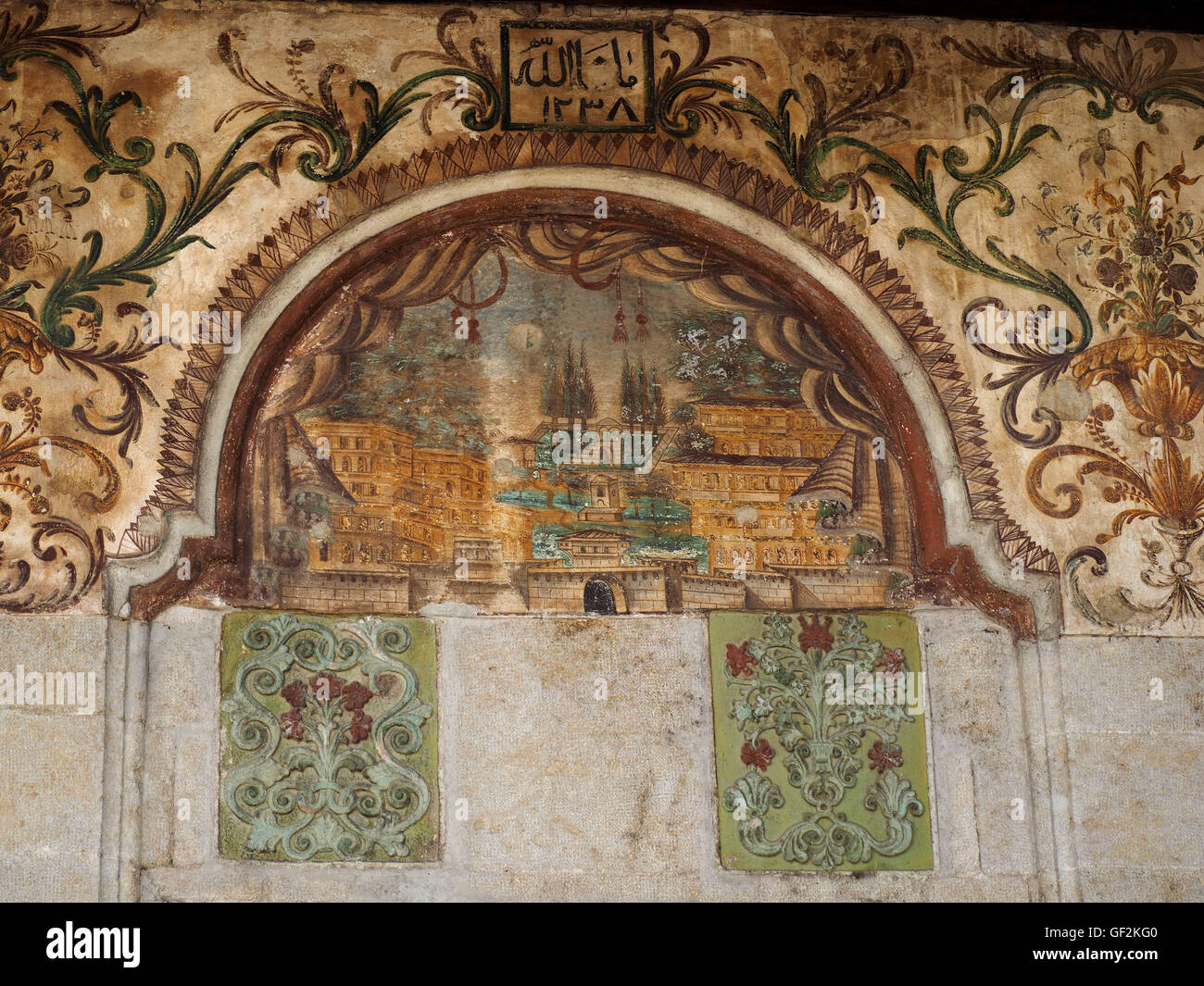 Ancient artwork at E'them Bey mosque in Albanian capital Tirana in the Balkans - Stock Image