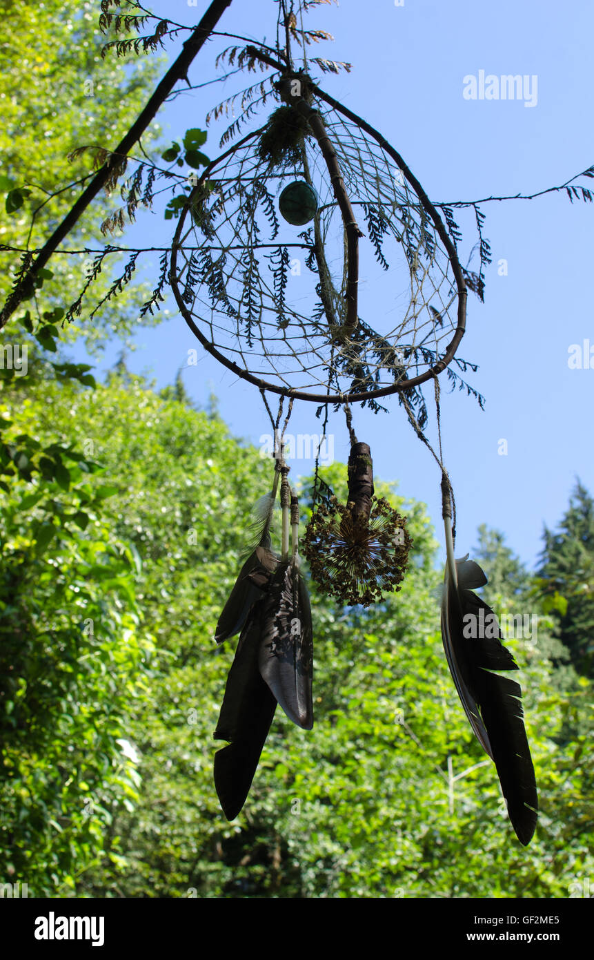 A Native American dreamcatcher hangs in the woods. - Stock Image