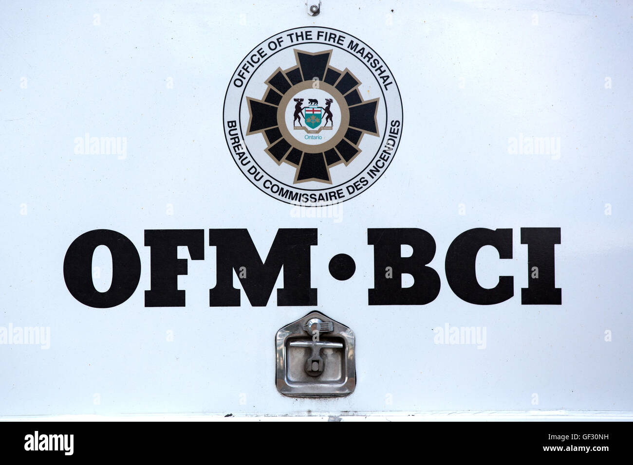 Ontario Fire Marshal in Amherstview, Ont., on July 17, 2016. - Stock Image