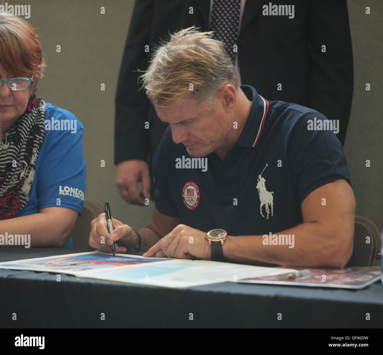 London UK 29 July 2016  Fist day of the London Film and Comic.con welcomed Dolph Lundgren ,better know as Ivan Drago ,the Russian boxer in the 1985 FILM Rocky IV signing photos for his fans.@ Paul Quezada-Neiman/Alamy Live News Credit:  Paul Quezada-Neiman/Alamy Live News Stock Photo