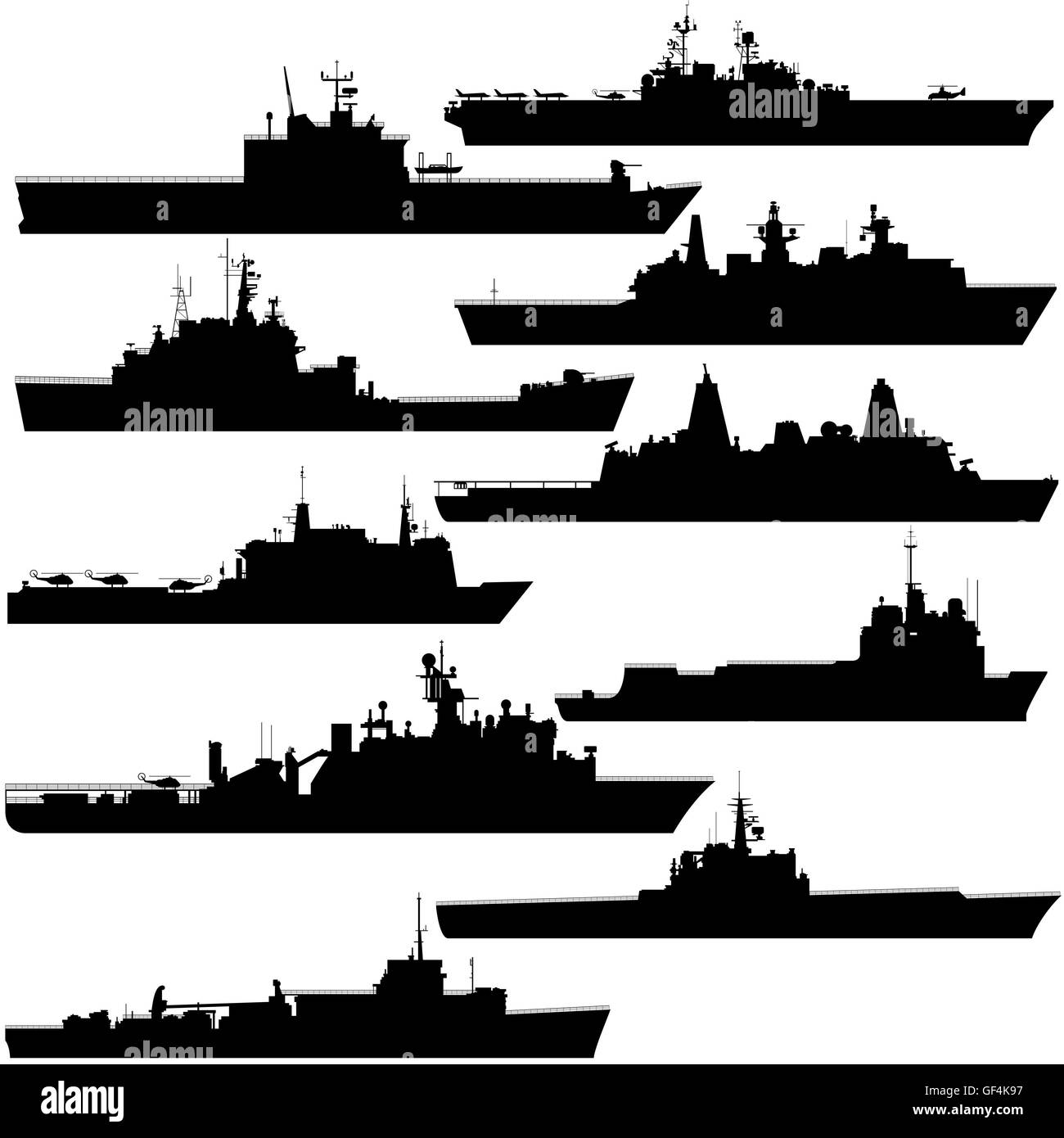 Contour image of amphibious ships. Illustration on white background. Stock Photo
