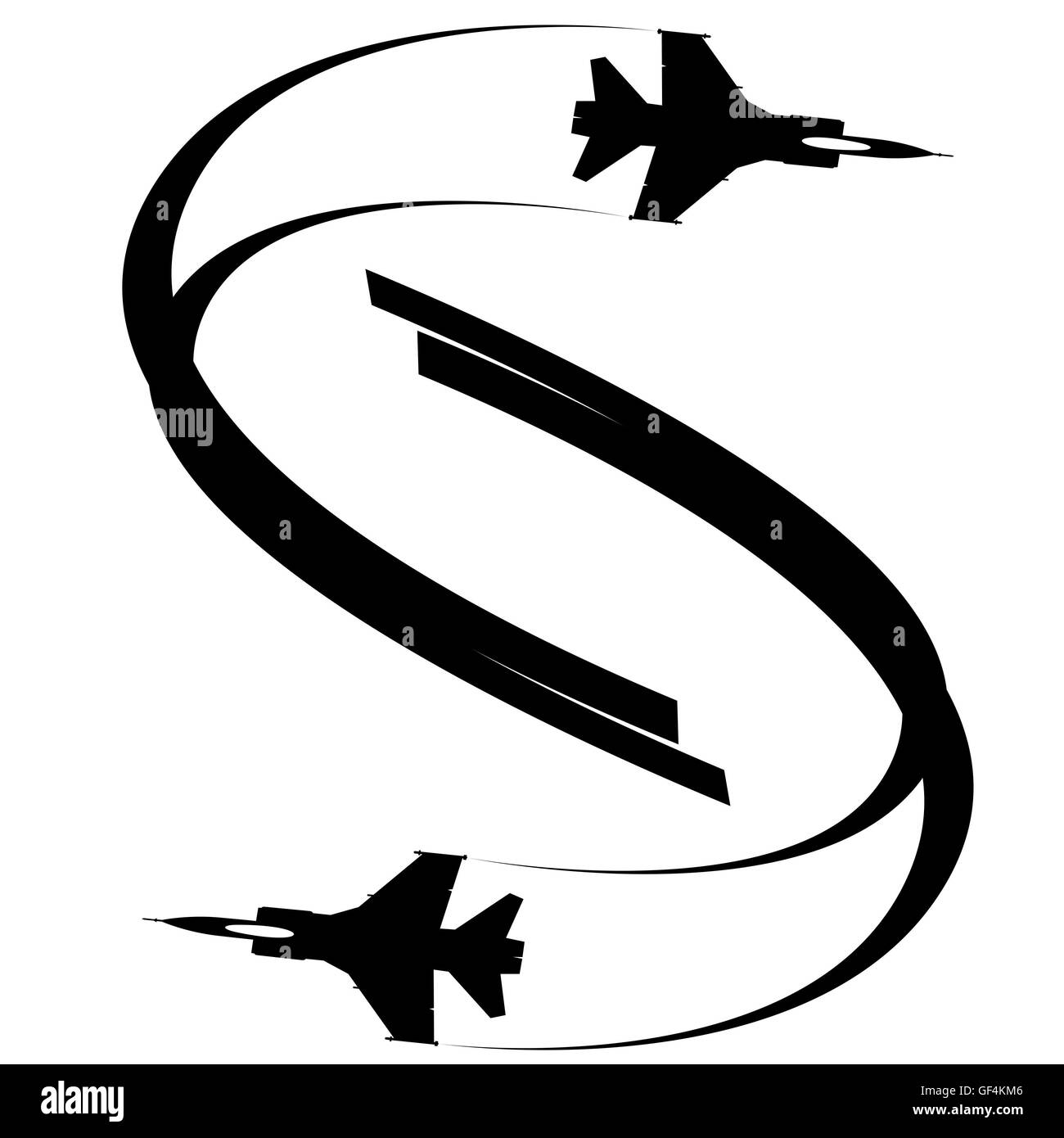 The contour of the two flying military aircraft. The illustration on white background. - Stock Image