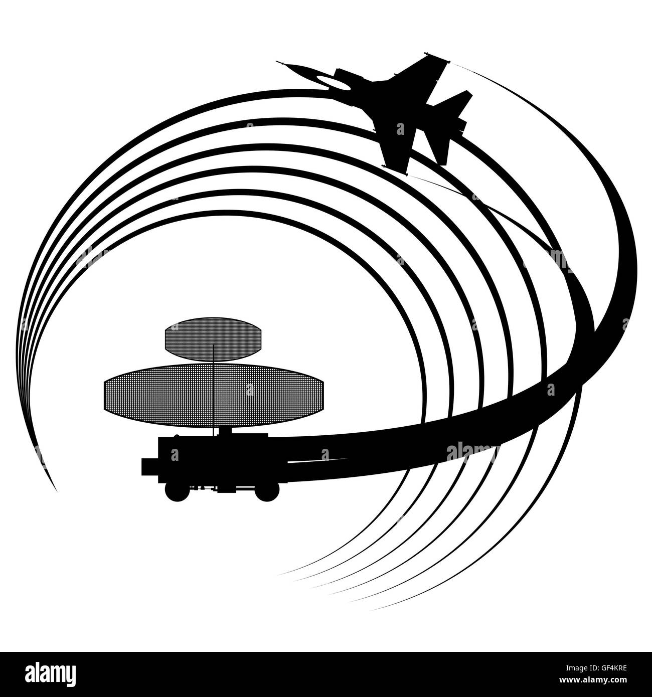 Contour flying military aircraft detected radar. The illustration on white background. - Stock Image