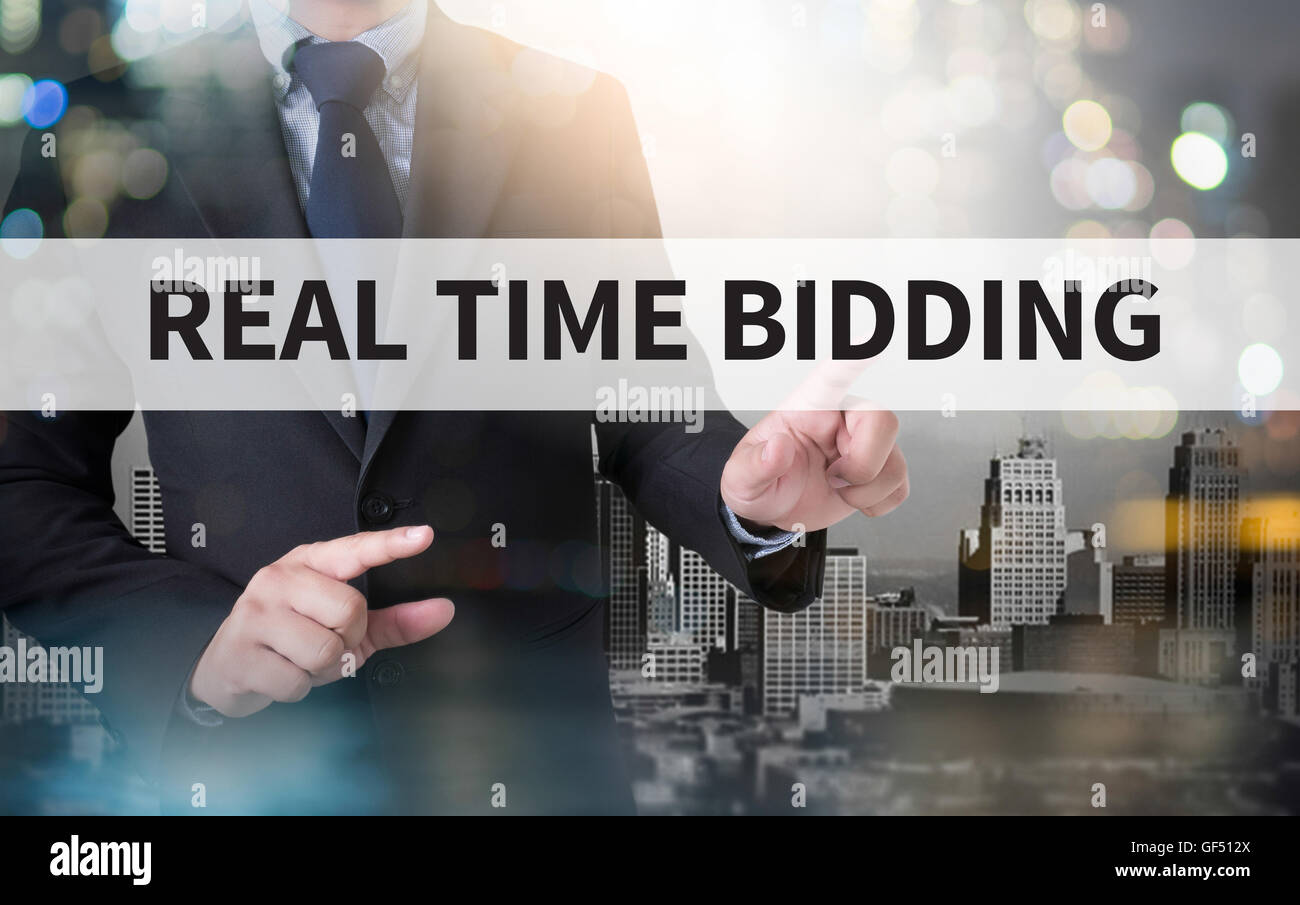 REAL TIME BIDDING and businessman working with modern technology Stock Photo