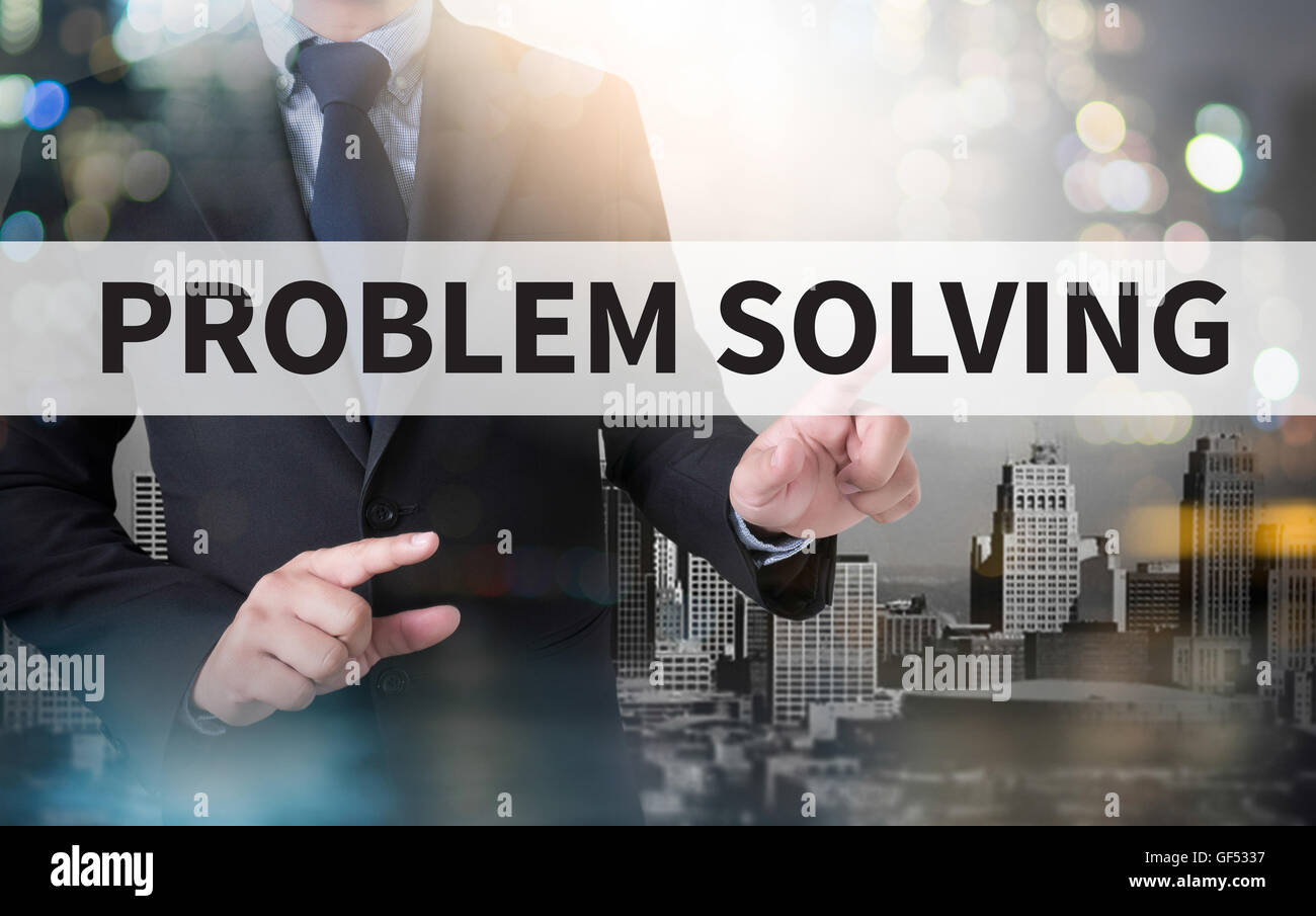 PROBLEM SOLVING and businessman working with modern technology - Stock Image