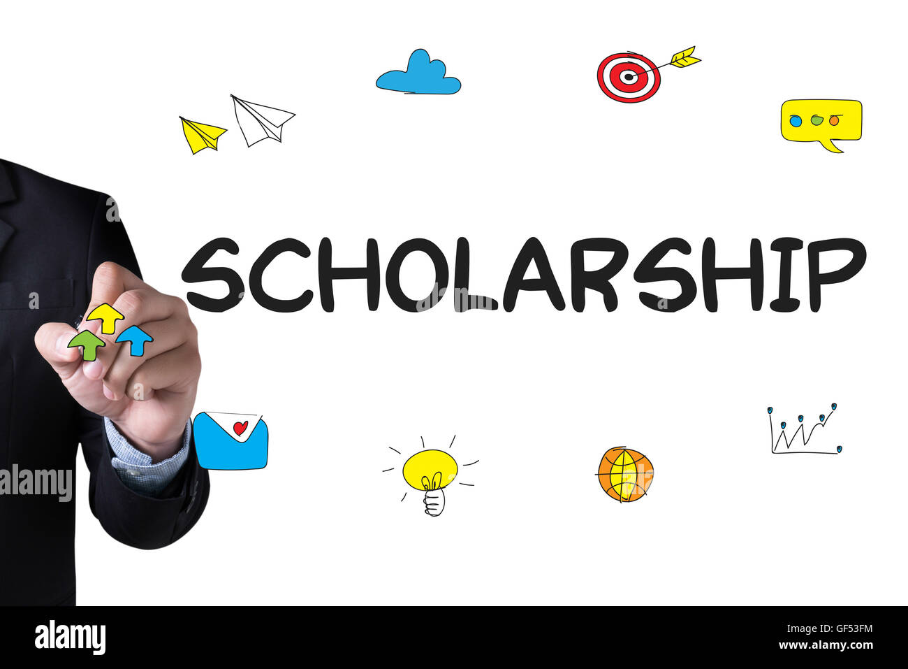 SCHOLARSHIP and Businessman drawing Landing Page on white background - Stock Image
