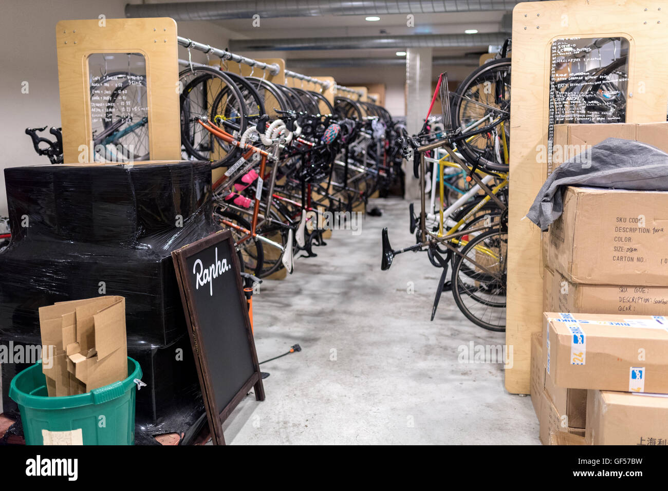 Bicycle garage by Rapha in london - Stock Image