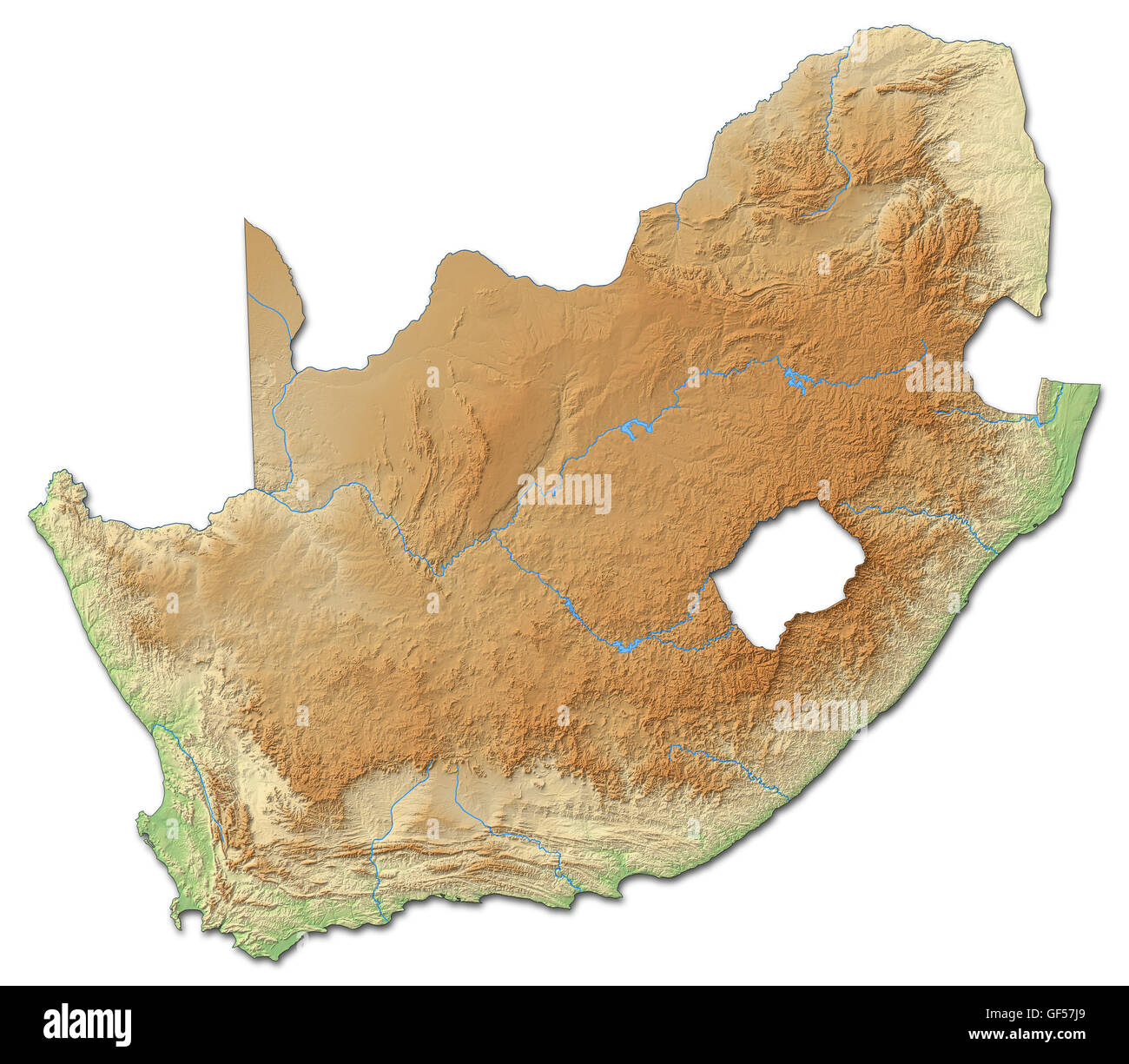 Relief map of South Africa with shaded relief. - Stock Image