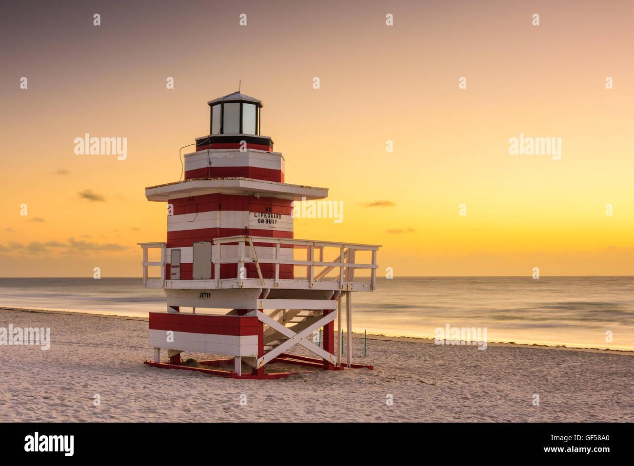 Miami Beach, Florida, USA at dawn. - Stock Image