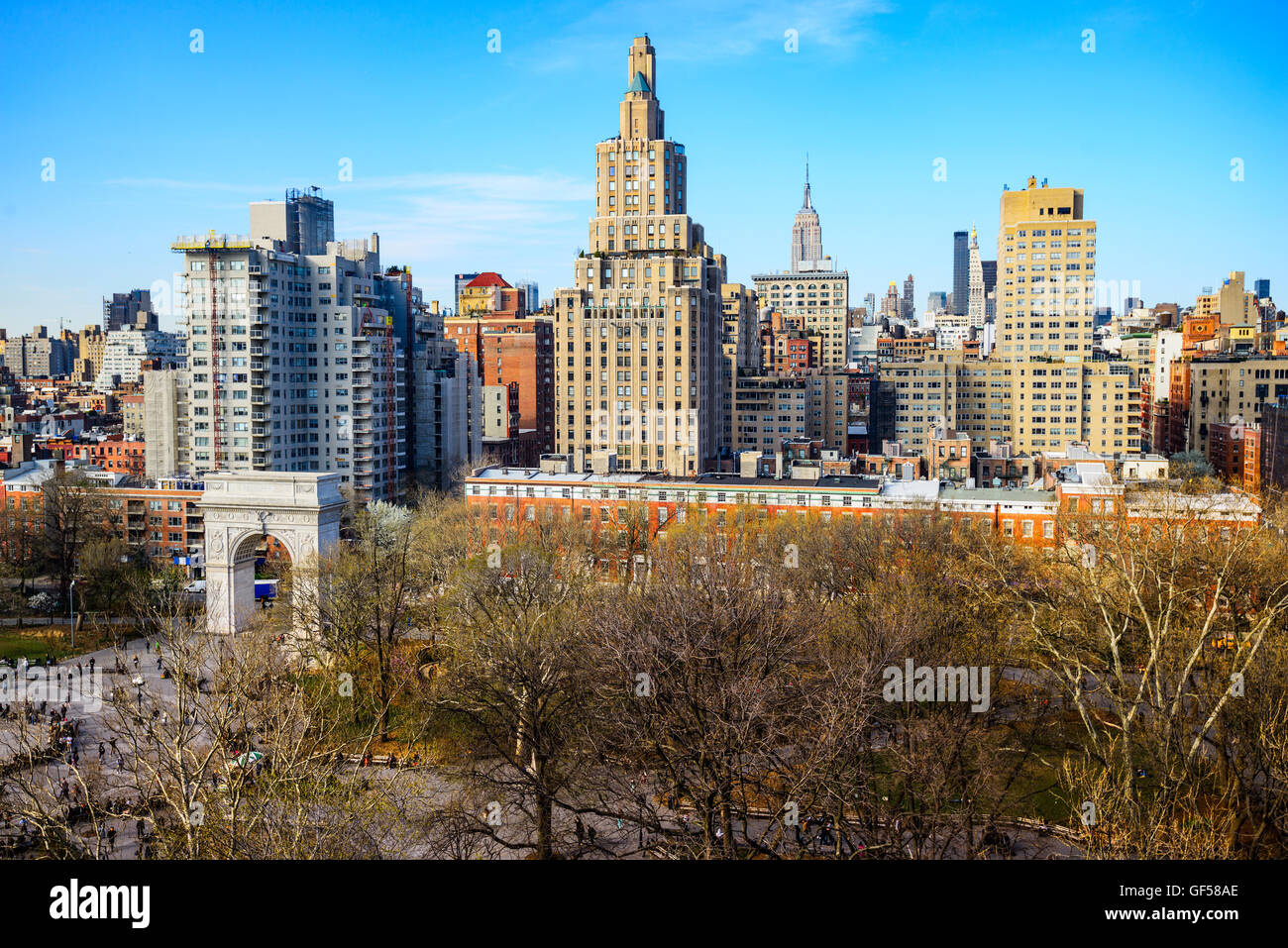 Washington Square Park and Greenwich Village Cityscape in New York City. Stock Photo