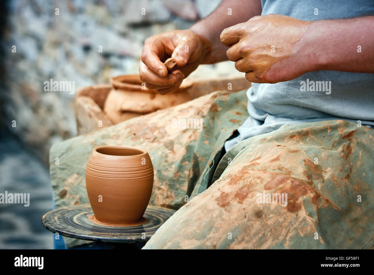 Pottery - Wheel Wedging Clay Stock Photo