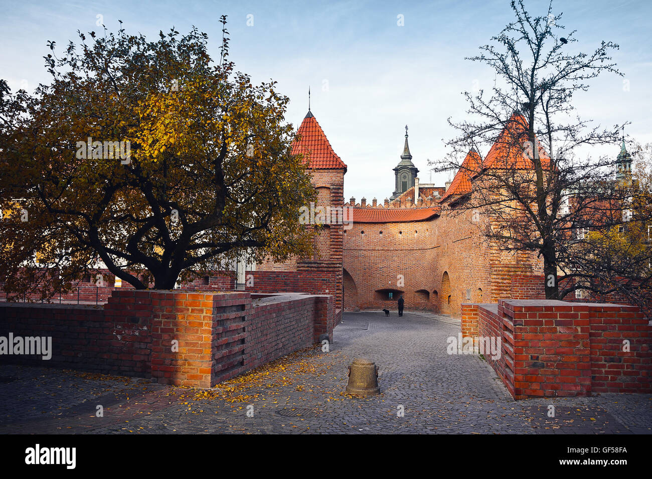 Walls and towers of the Warsaw's Barbican Stock Photo
