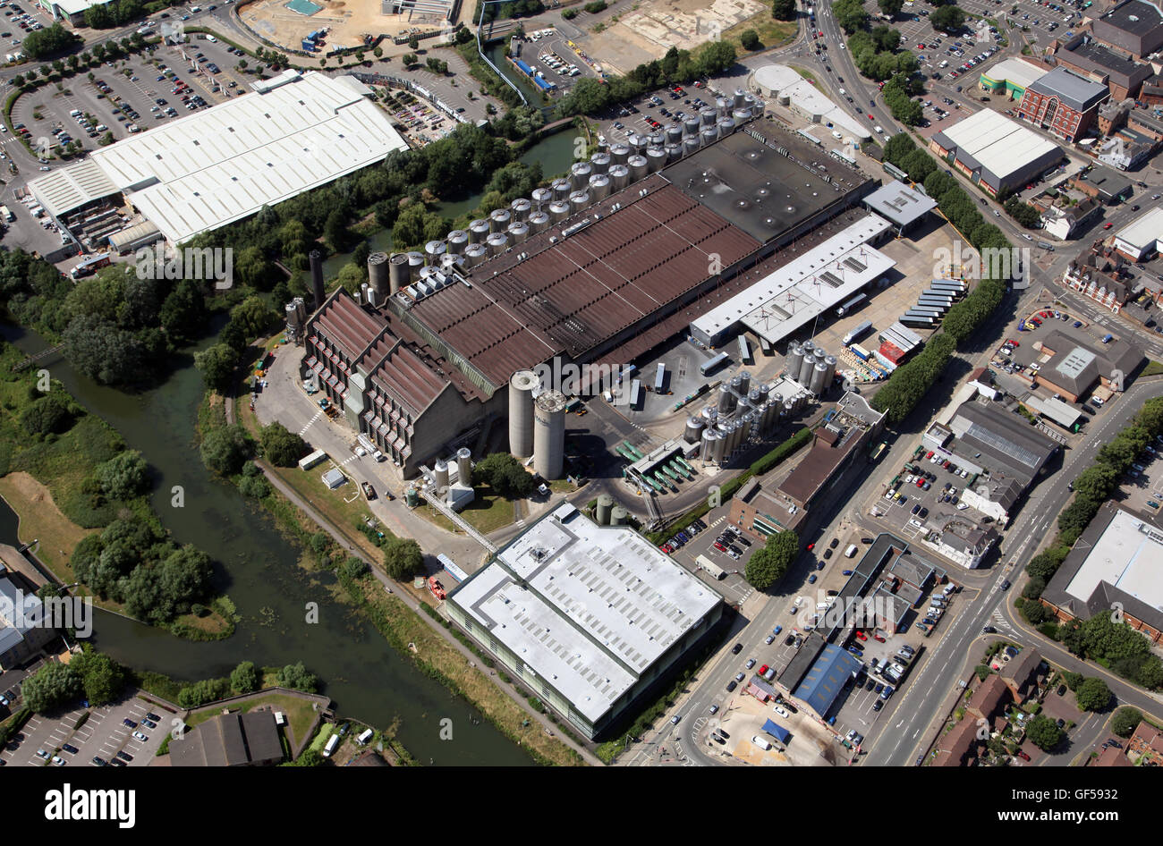 aerial view of the Carlsberg brewery factory in Northampton, UK - Stock Image