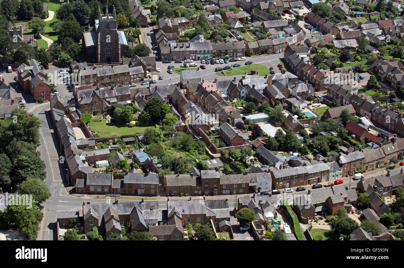 aerial view of Dedington in Oxfordshire, UK - Stock Image