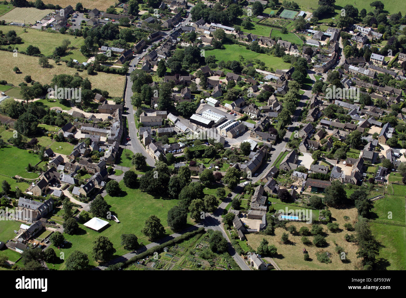 aerial view of the Oxfordshire village of Kingham, UK - Stock Image