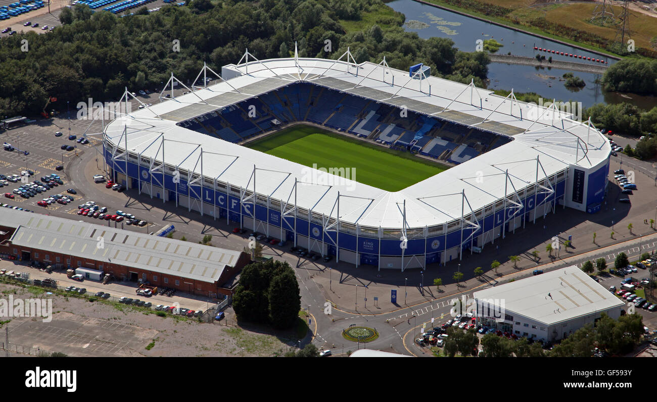 aerial view of The King Power Stadium home of Leicester City football club, UK - Stock Image