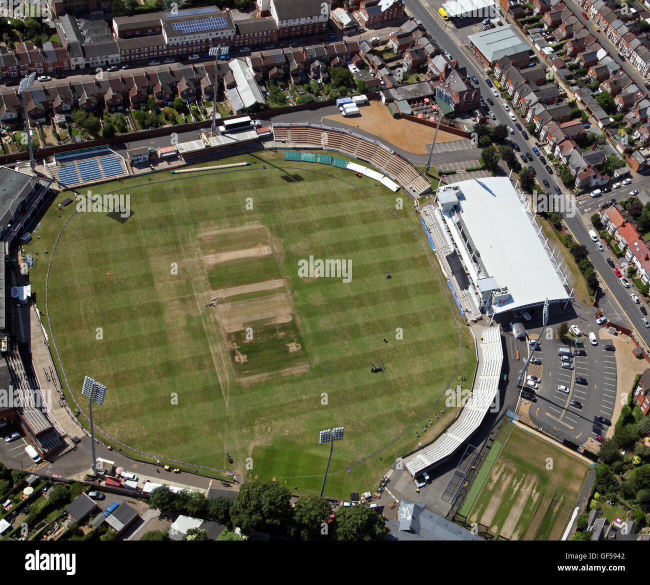 aerial view of The County Ground, home of Northamptonshire County Cricket Club, UK - Stock Image