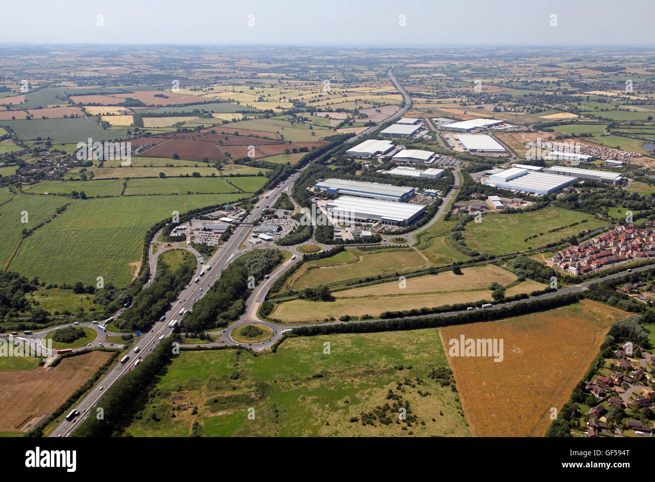 aerial view of Junction 15A of the M1motorway at Northampton, with Roadchef Service Area & Swan Valley Way industrial - Stock Image