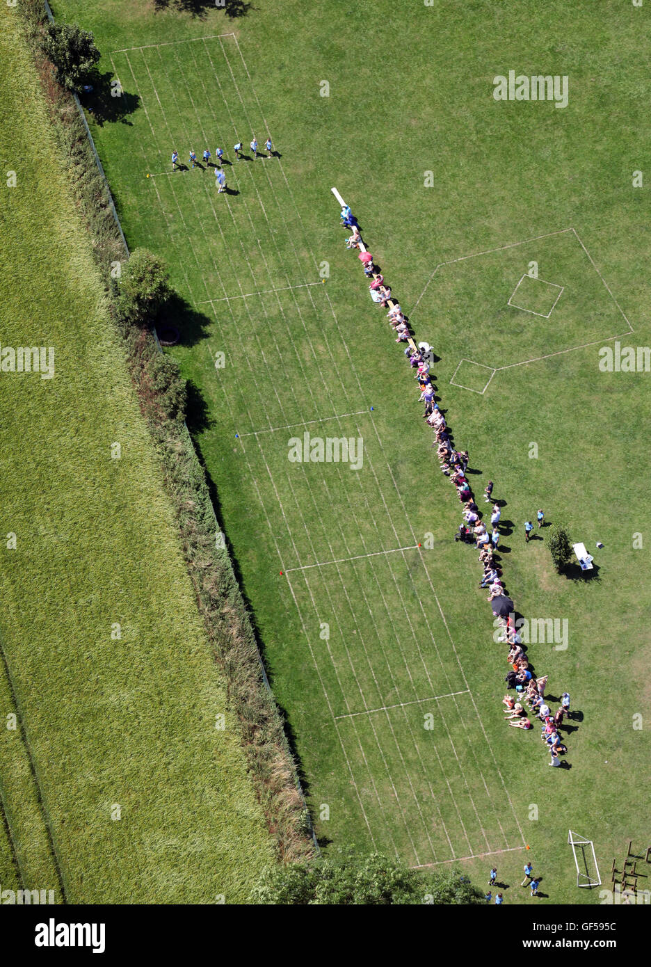 aerial view of a typically English school sports day - Stock Image