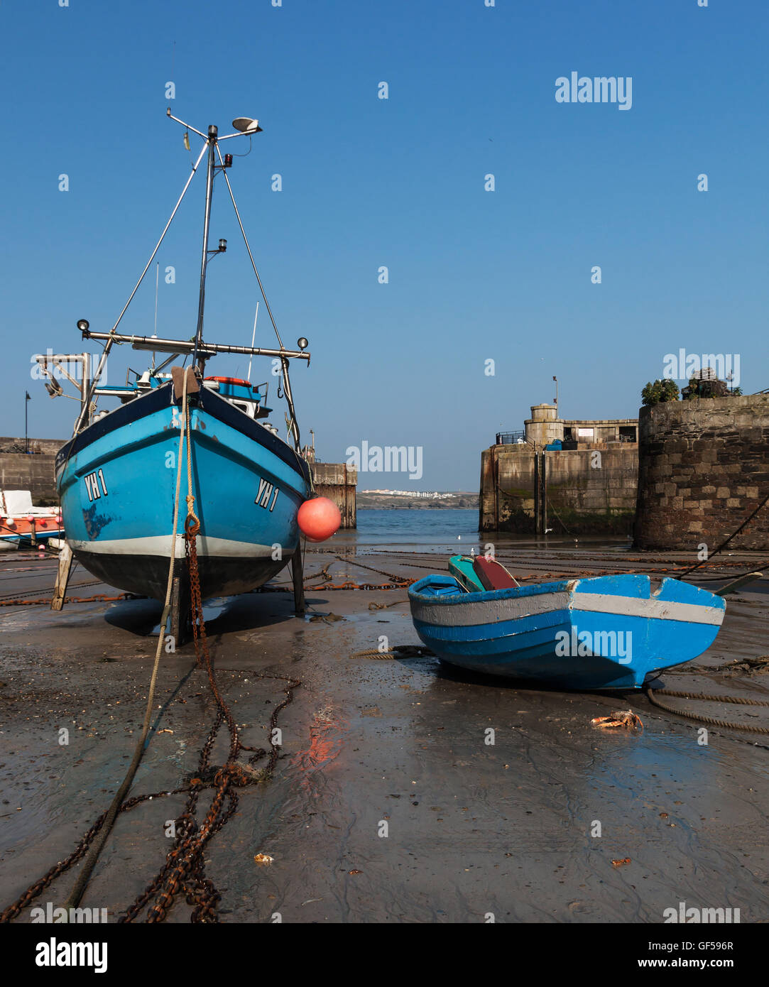Fishing boats in Newquay harbour - Stock Image