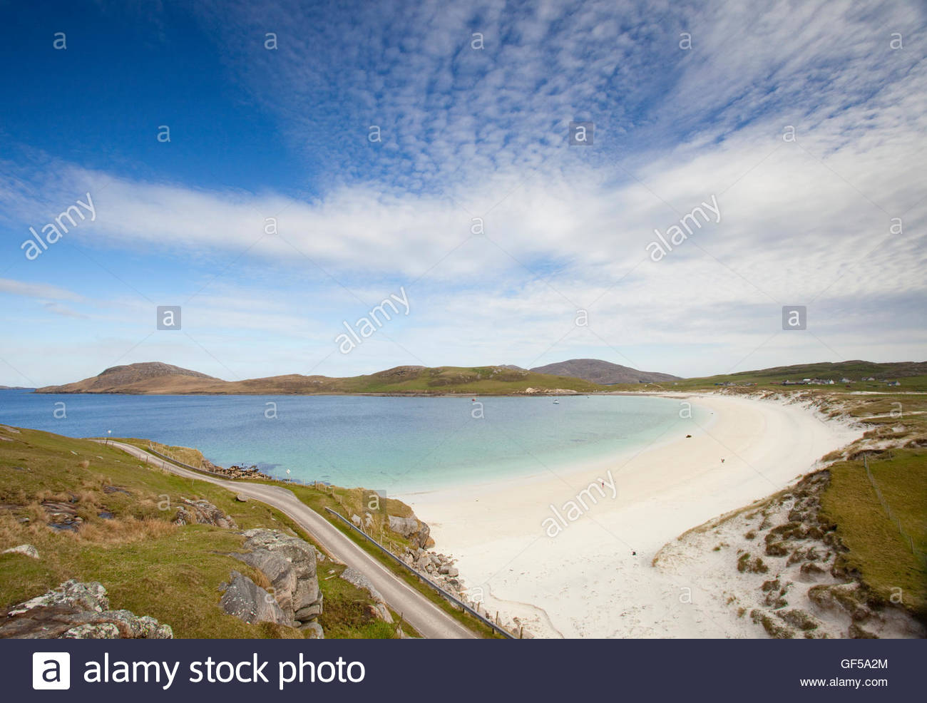 The pristine white sands of East Beach on the Island of Vatersay, Outer Hebrides, Scotland. - Stock Image