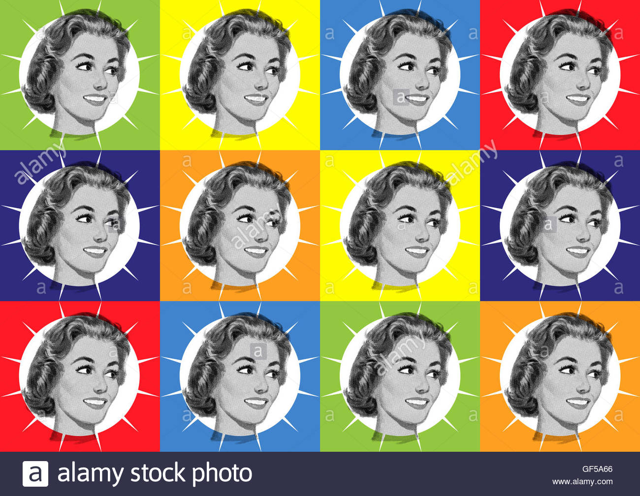 Retro kitsch fifties housewife mid century atomic illustration - Stock Image