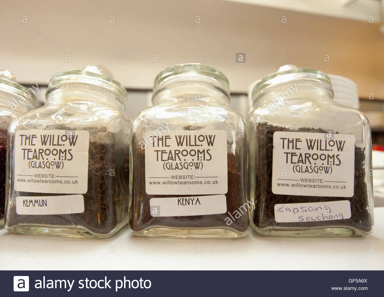 Jars of  different types of tea leaves in the Willow Tearoom designed by celebrated Glasgow architect, Charles Rennie - Stock Image