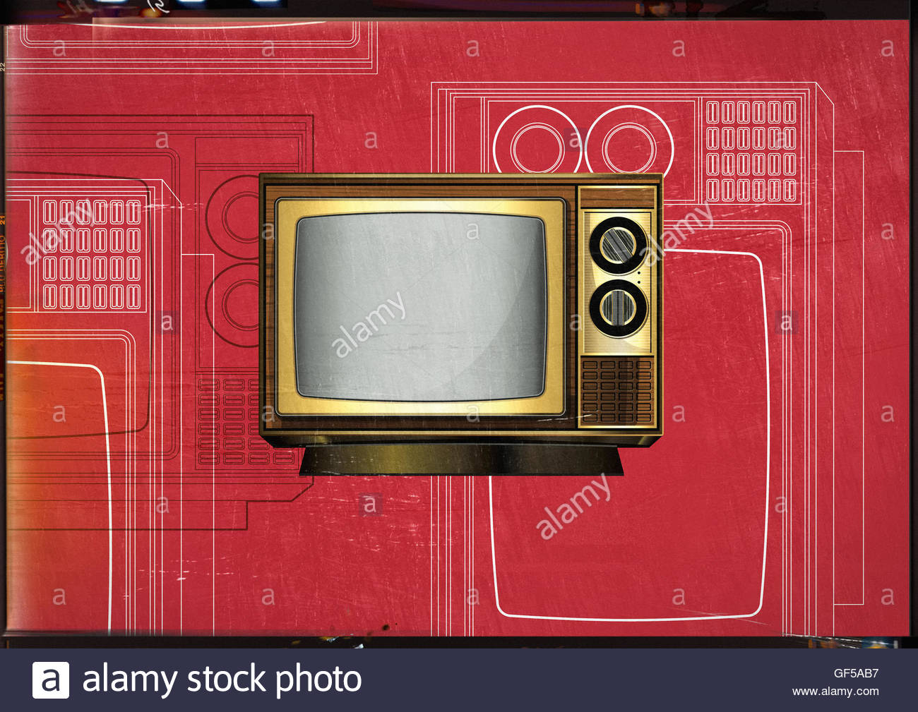 Retro TV vintage mid century style illustration - Stock Image