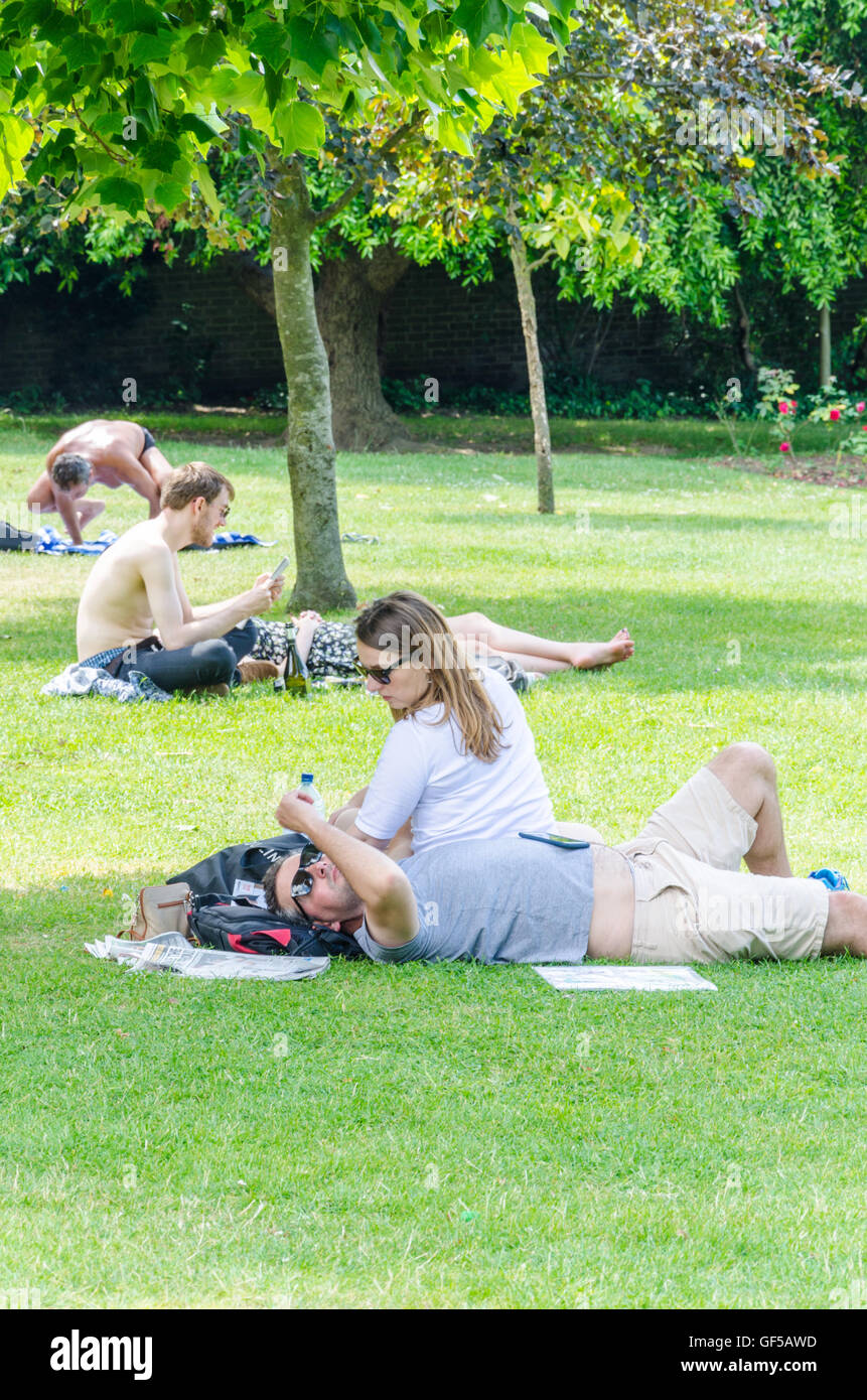 People lie down and sunbathe in Holland Park in London - Stock Image