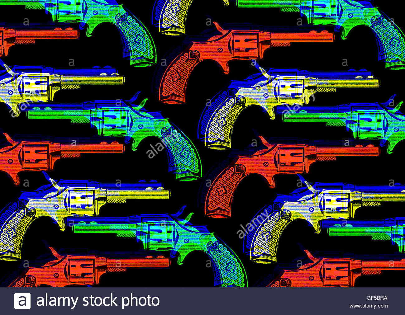 Revolver wild west hand gun retro repeat vintage illustration - Stock Image