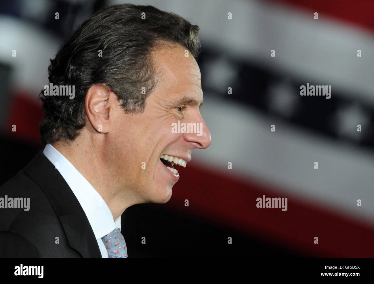 NEW YORK, NY - OCTOBER 25: Andrew Cuomo speaking at the Pathways in Technology Early College High School in the - Stock Image