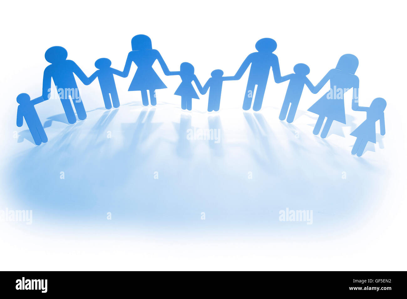Group Paper Doll Holding Hands Stock Photos Group Paper Doll