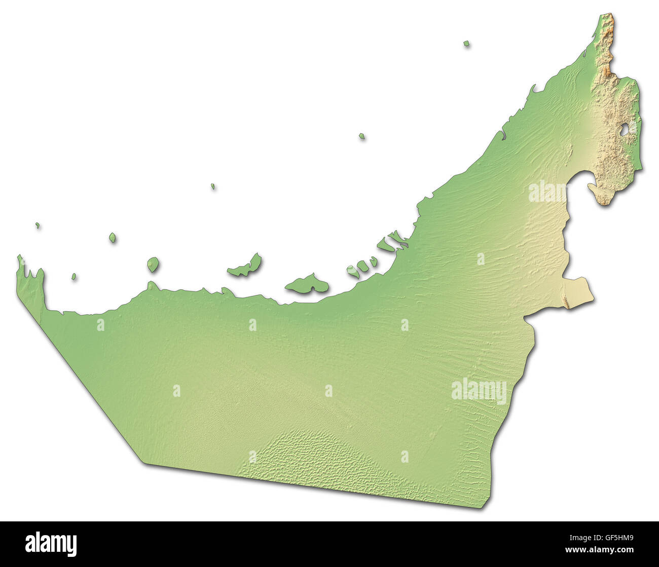 Relief map of United Arab Emirates with shaded relief. - Stock Image